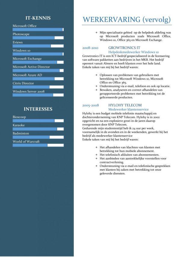 CV Sjabloon Cambridge 2-2 (2 paginas)