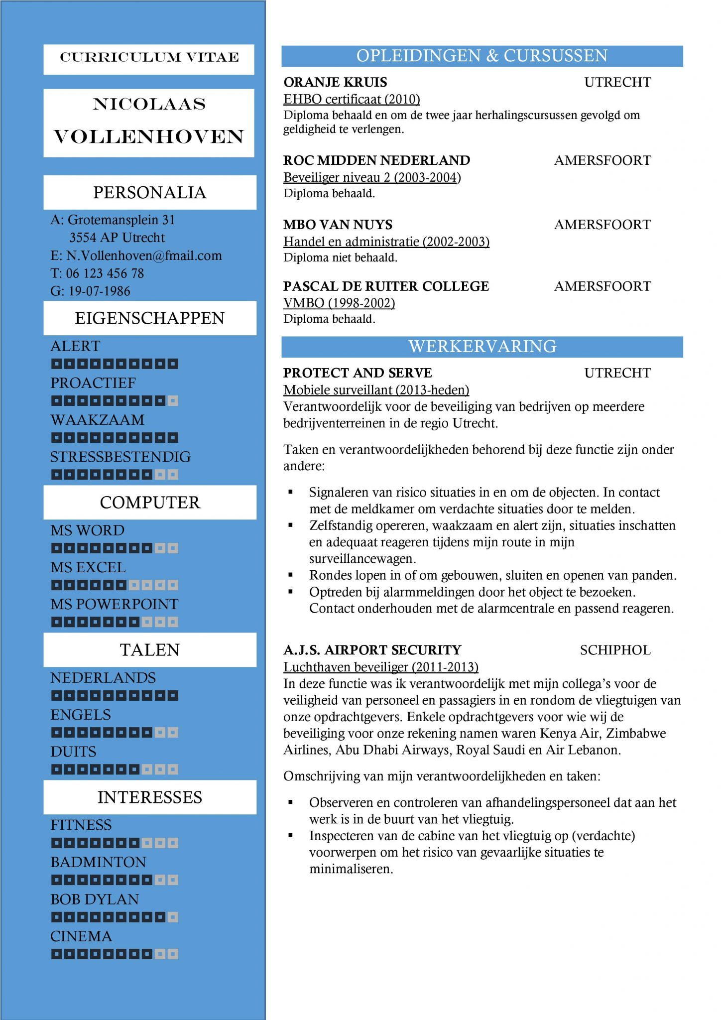 motivatiebrief luchthavenbeveiliger CV Sjabloon Nottingham | Gratis Top CV Template | Inhoud: Beveiliger motivatiebrief luchthavenbeveiliger