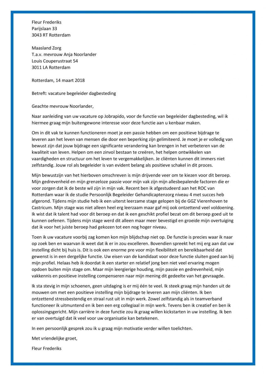 sollicitatie gehandicaptenzorg Sollicitatiebrief Begeleider Gehandicaptenz  Top Kwaliteit  sollicitatie gehandicaptenzorg