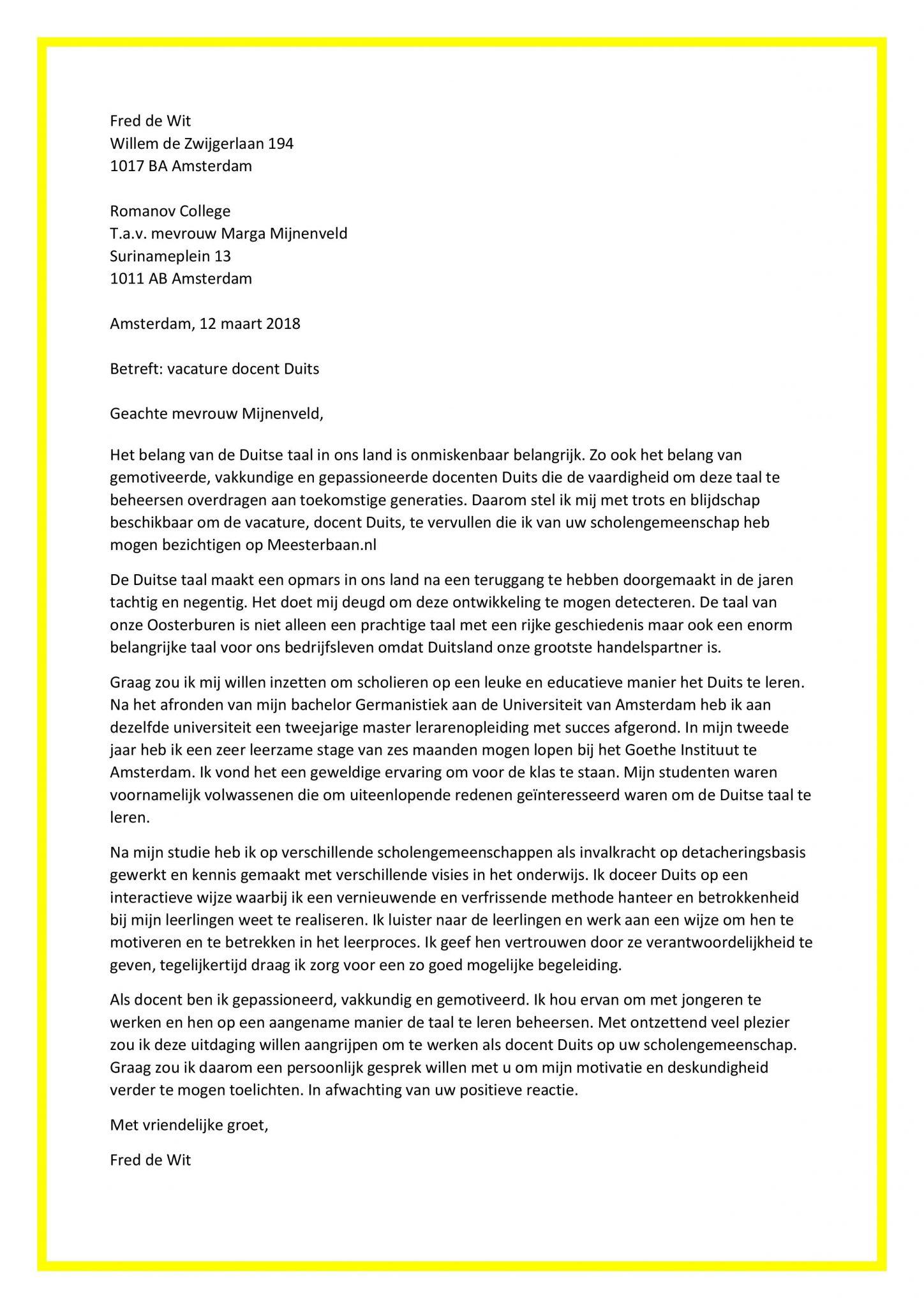 sollicitatie duits Sollicitatiebrief Docent Duits | Lehrer Deutsch | Origineel en Gratis! sollicitatie duits