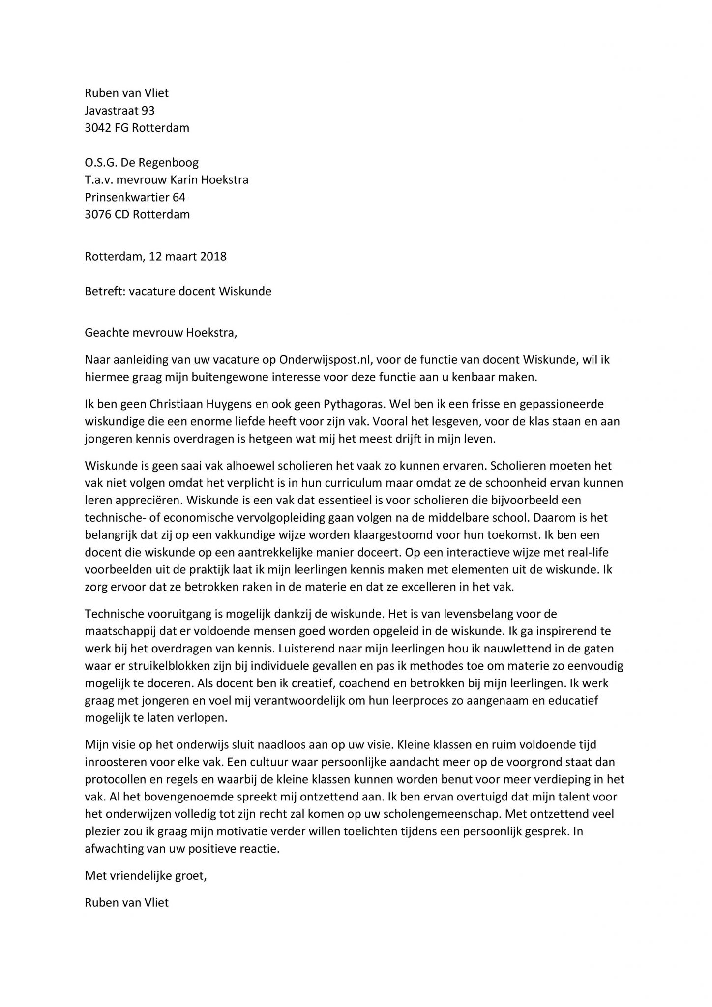 sollicitatiebrief docent Sollicitatiebrief Docent Wiskunde   De Beste Sollicitatiebrief  sollicitatiebrief docent
