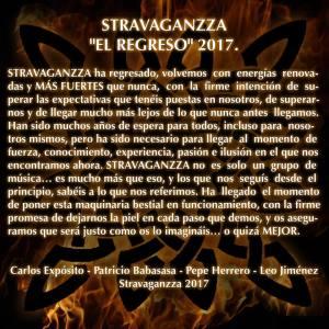 Stravaganzza comunicado 'El regreso 2017'