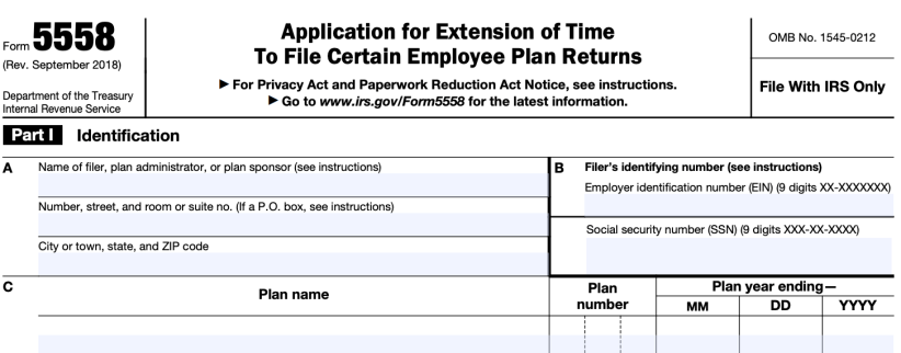 form 5558 extension due date 2019  How to File Form 12-EZ - Solo 12k