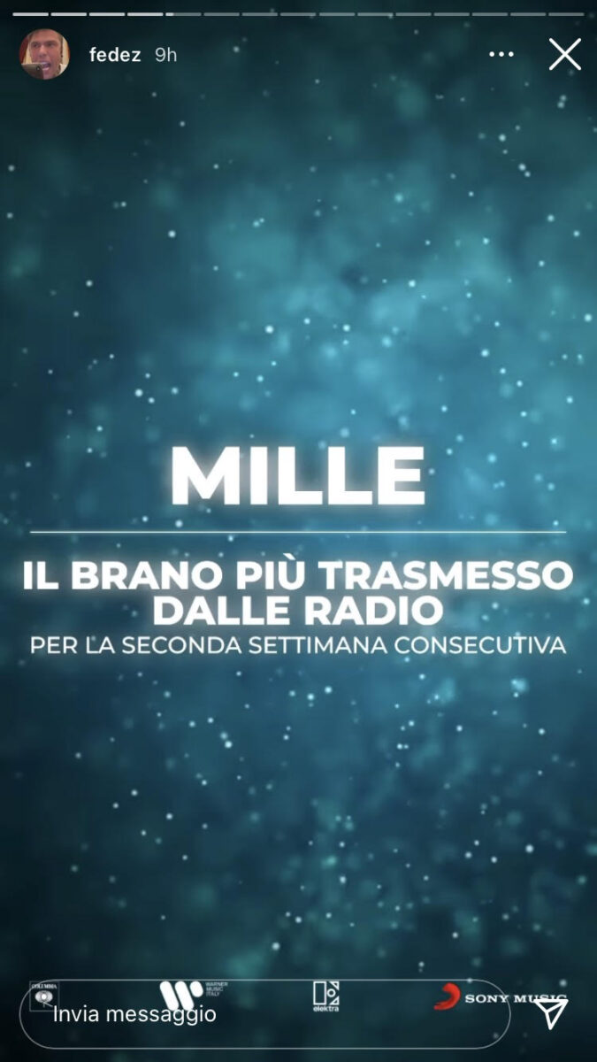 21:00 & # 8211;  Fedez: Mille is the most broadcast song on the radio