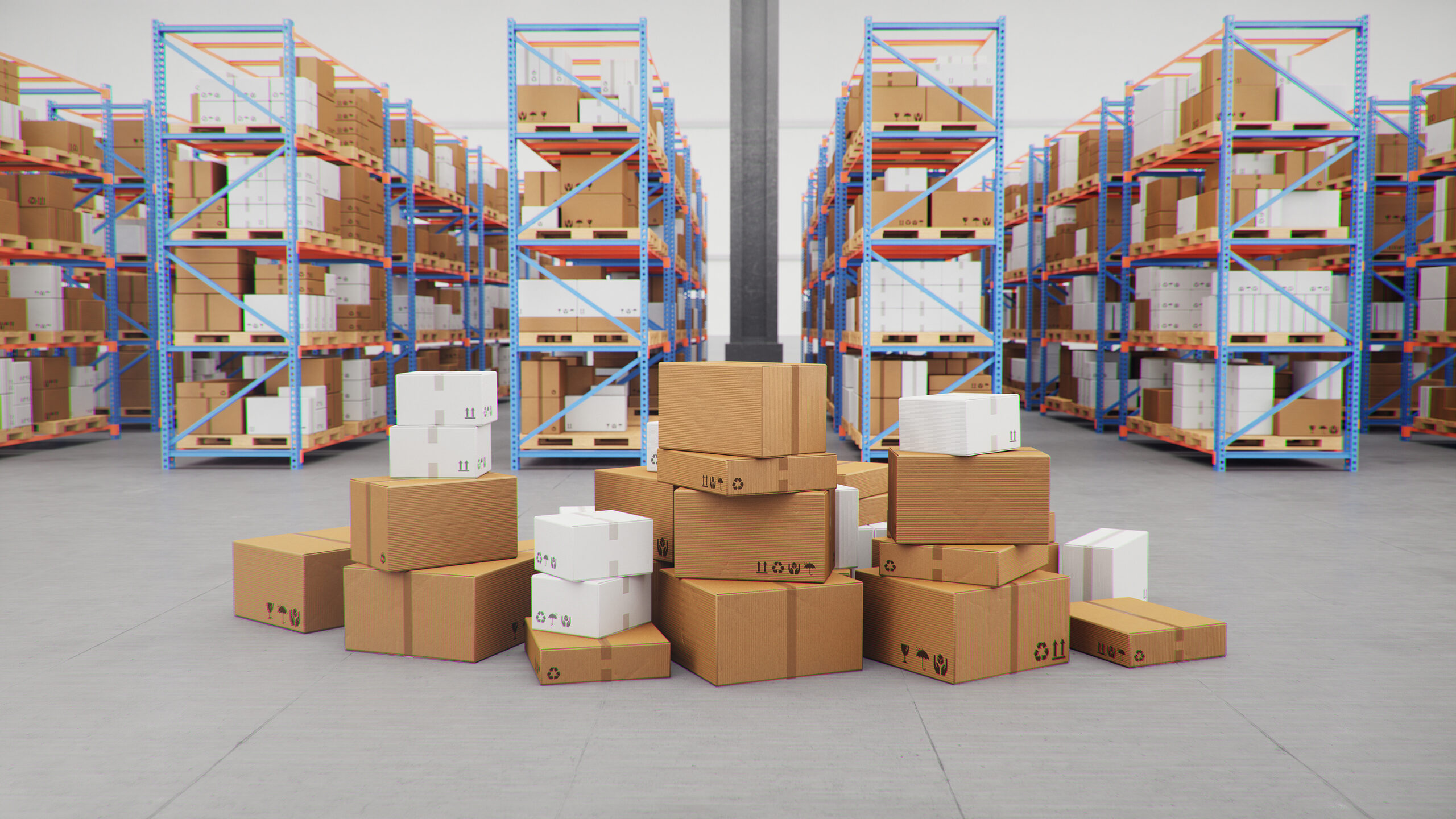 Packages in a logistics warehouse.