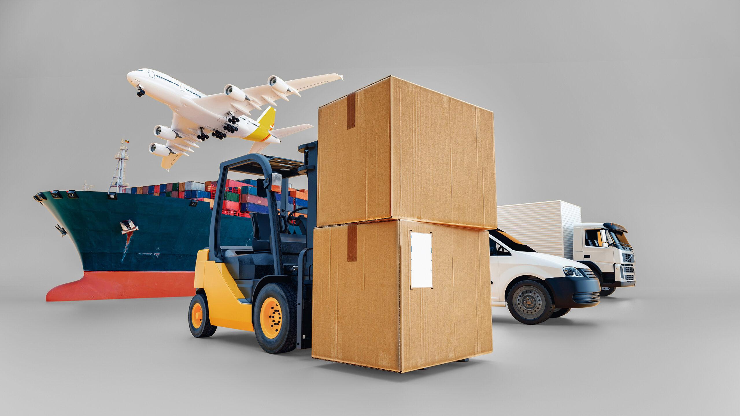 Logistics via airplane, truck and ocean cargo.