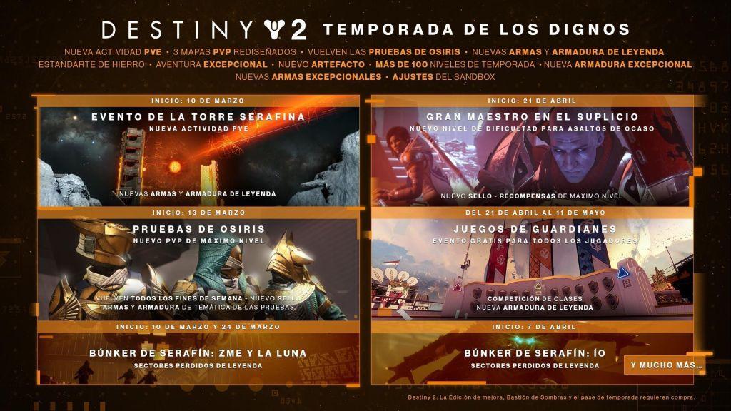 información, fecha, eventos de la temporada de los dignos en destiny 2