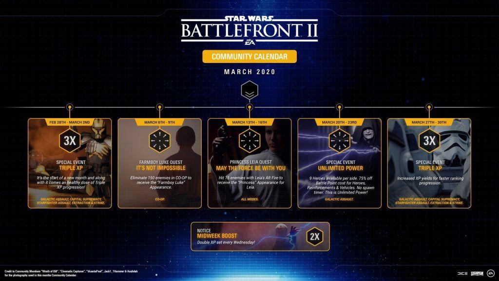 star wars battlefront 2, roadmap marzo 2020, eventos de marzo 2020