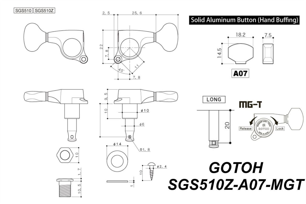Gotoh Sgs510zmgt Mag Trad Locking Staggered Guitar Machine
