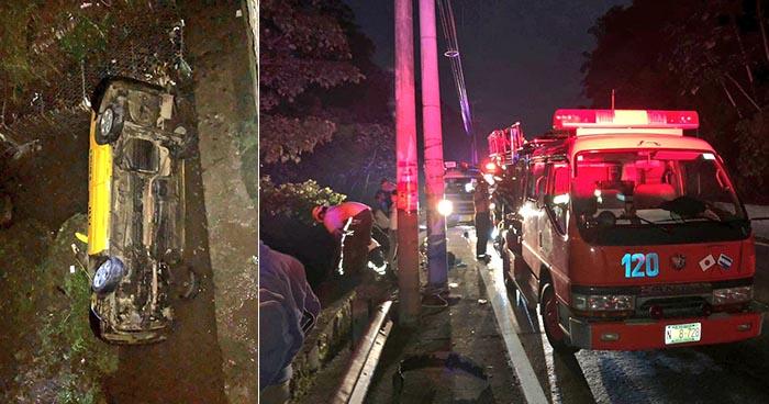 Dos personas se salvan de morir en un taxi tras caer a una quebrada en La Libertad