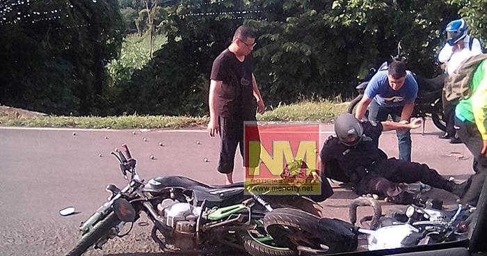 Agente de la PNC resulta lesionado tras chocar con otro motociclista en el bypass de Usulután