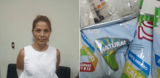 Capturan a mujer que transportaba heroína en bolsas de leche de Soya