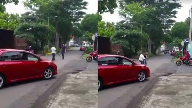 """Conductores en San Miguel se agarran a """"cinchazos"""" por pelearse el paso"""