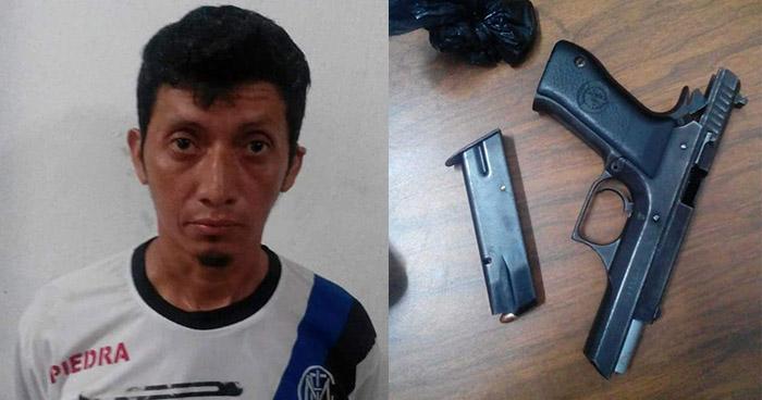 Policía atrapa a sujeto armado en el cantón Santa Bárbara de Usulután