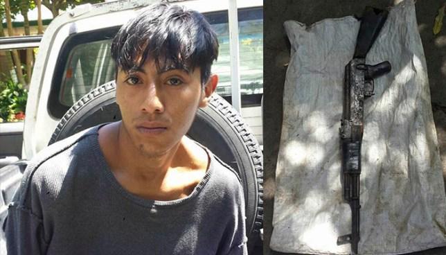 Detienen a pandillero que cargaba un arma de guerra dentro de un saco en Quezaltepeque