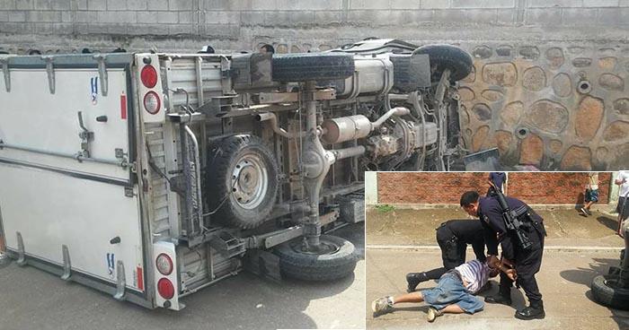 Atrapan en La Unión a borracho luego que volcara con un camión que robó