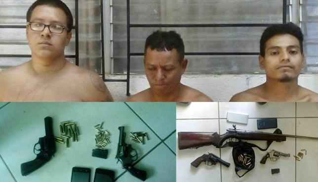 Con armas, cajas de pollo y ropa para dos cabecillas, fueron capturados tres pandilleros en Jucuapa