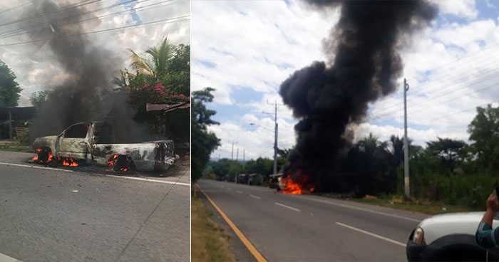 Pick up se incendia en la autopista a Comalapa rumbo a San Salvador