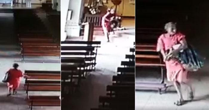 Cámaras captan a mujer que robó una imagen de una parroquia en Santa Ana