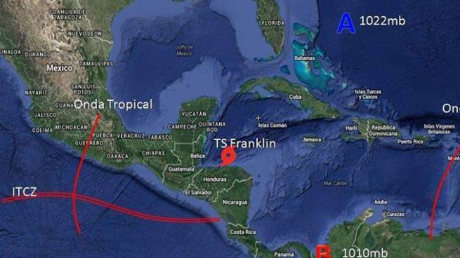 Se forma tormenta Franklin en el Caribe y se esperan tormentas en zona costera del país