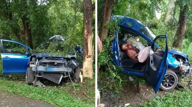 Hombre muere tras estrellarse contra un árbol y partir su auto en dos en el Bajo Lempa