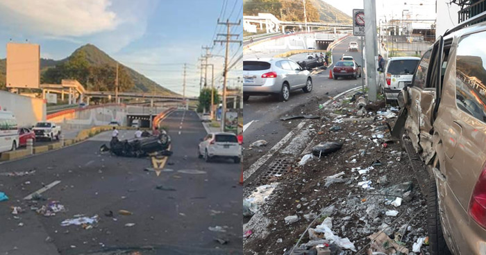 Aparatoso accidente en final de Avenida Jerusalén deja 2 lesionados