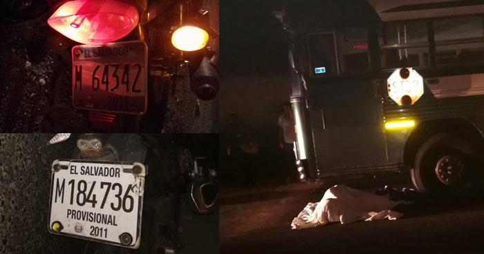 Un fallecido y un lesionado dejó accidente de tránsito en carretera hacia San Juan Opico