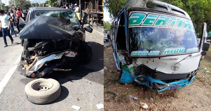 Cinco lesionados tras accidente en carretera a Santa Ana por desvío a San Juan Opico