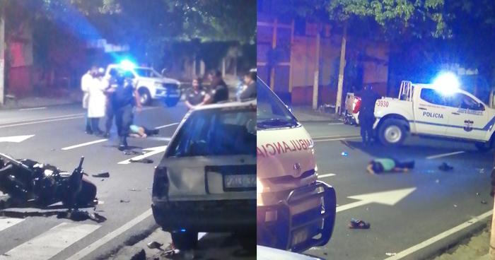 Motociclista ebrio se accidenta en la avenida Las Amapolas de San Salvador, una mujer murió