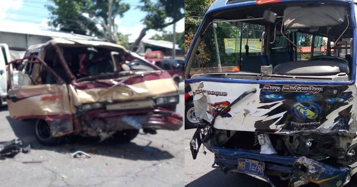 Tres lesionados en múltiple choque sobre carretera Panamericana, Ilopango