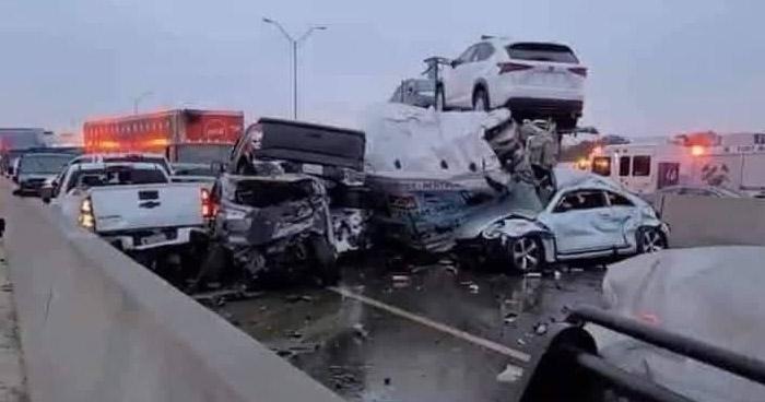 100 autos involucrados y 5 fallecidos tras fuerte accidente en Texas, Estados Unidos