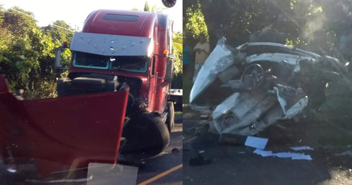 Un lesionados tras grave accidente de tránsito en carretera Panamericana, San Vicente