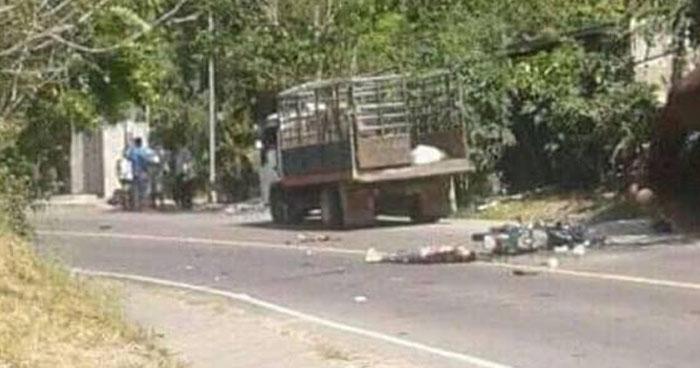 Motociclista muere al chocar contra un camión en carretera antigua a Zacatecoluca