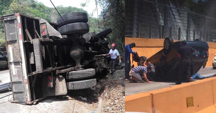 Camión cargado con cemento y particular vuelcan en carretera Los Chorros