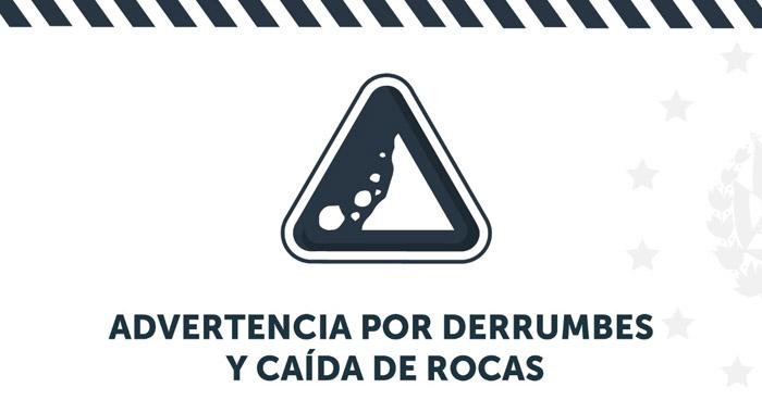 Emiten ADVERTENCIA por probabilidad de derrumbes y caída de rocas debido a lluvias