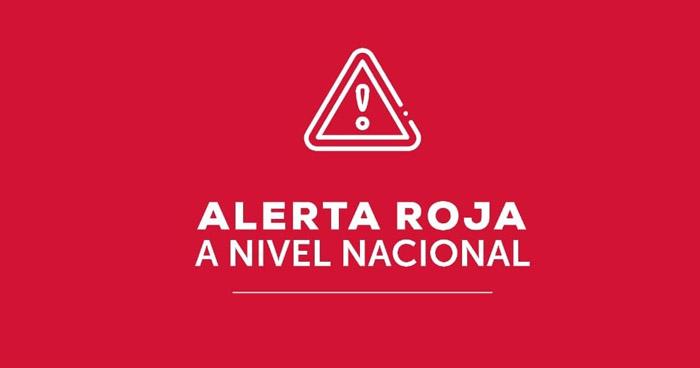 Alerta Roja continúa a nivel nacional por probabilidad de deslizamientos de tierra y rocas