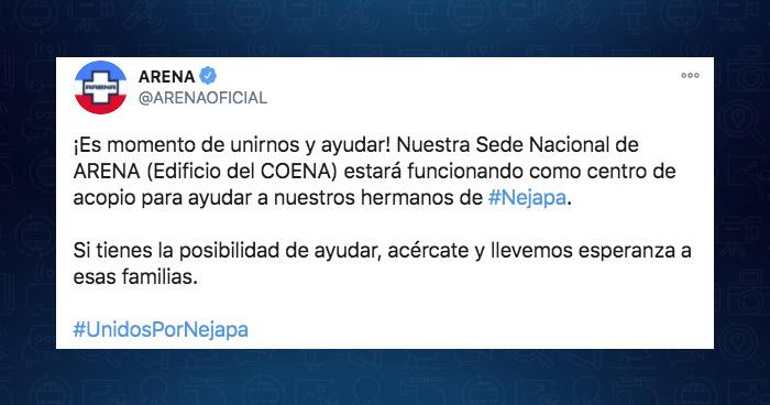 """Critican a ARENA por ofrecer su sede central como """"centro de acopio"""" para afectados en Nejapa"""