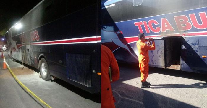Chófer intentó quemar 5 kilos de cocaína oculta en un autobús de linea internacional