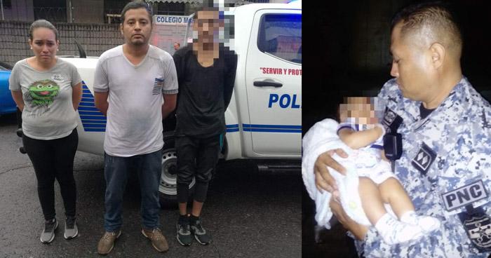 STO rescata a un bebe que había sido raptado por tres delincuentes en Apopa