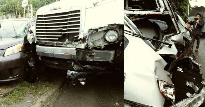 Camión embiste a 3 vehículos en la carretera Troncal del Norte