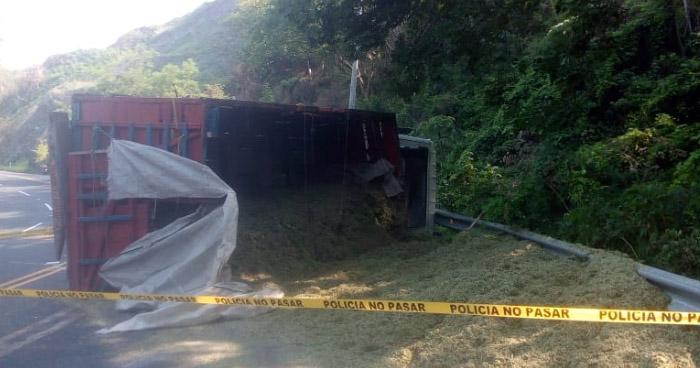 Un muerto y dos lesionados luego que camión volcara tras perder los frenos