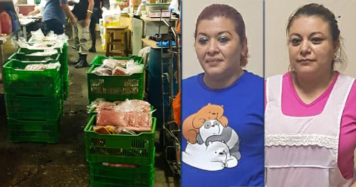 Mujeres capturadas con carne sustraída de un vehículo robado en Quezaltepeque
