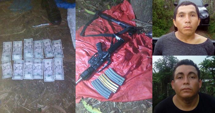 Dos pandilleros que extorsionaban en Ahuachapán fueron capturados cuando portaban fuerte armamento
