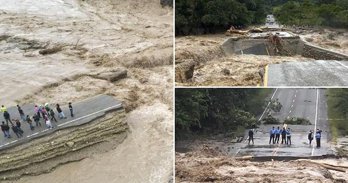Colapsa tramo de la carretera CA-11 en Honduras, otras carreteras han sido cerradas