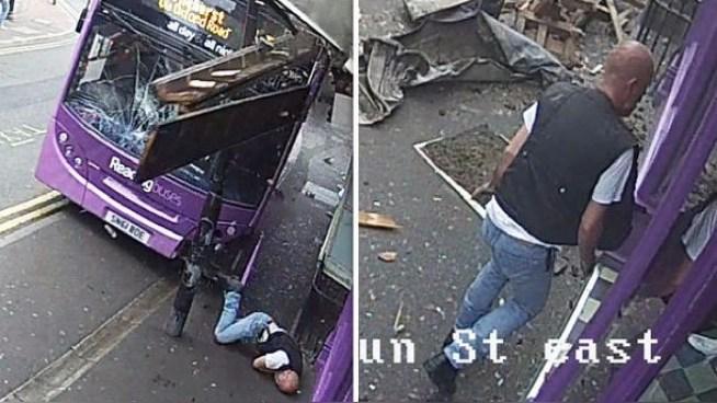 Hombre es arrollado por un autobús, se levanta y entra a un bar como si nada hubiese pasado