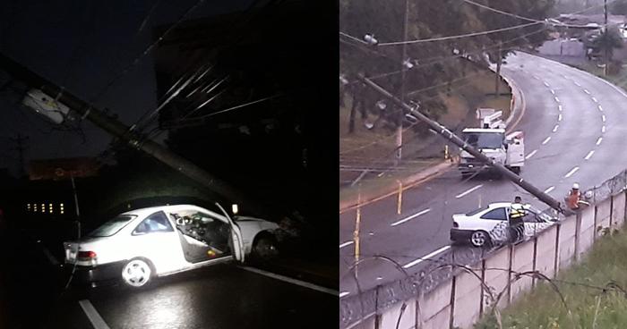 Conductor chocó su vehículo contra un poste y ocasionó caos en Autopista Comalapa