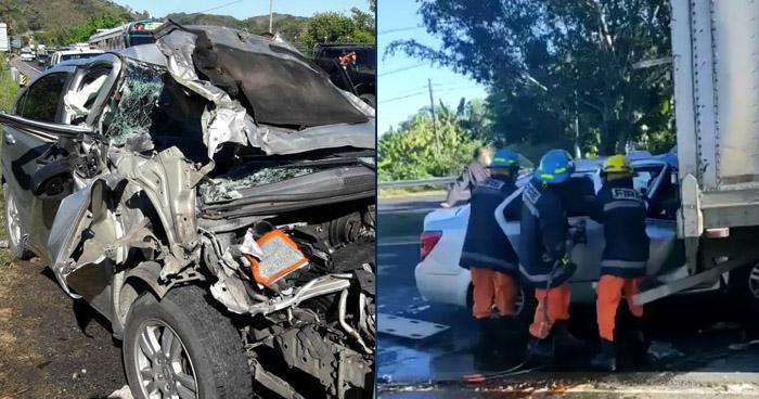 Rescatan a mujer que quedó atrapada tras aparatoso choque en Santa Cruz Michapa