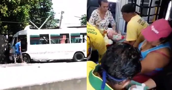 Dos bebés y varios más lesionados por choque de microbús R-38E en carretera Troncal del Norte