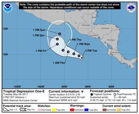 Protección Civil emite aviso por pronóstico de depresión tropical Uno-E