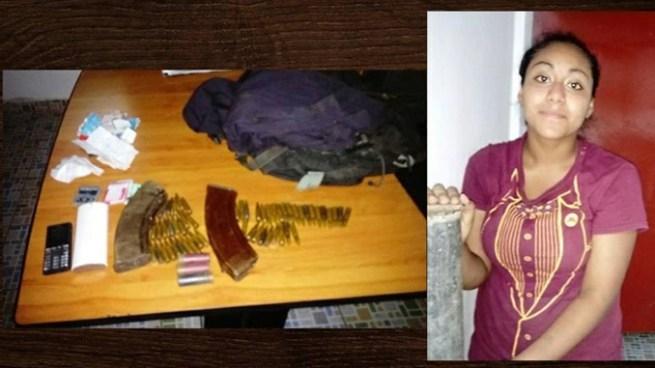 Capturan a colaboradora de pandillas con un uniforme de la Policía y abundante munición